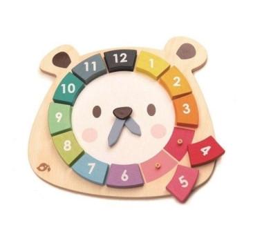 Kolorowy Zegar Miś - Drewniana Zabawka Edukacyjna - Tender Leaf Toys