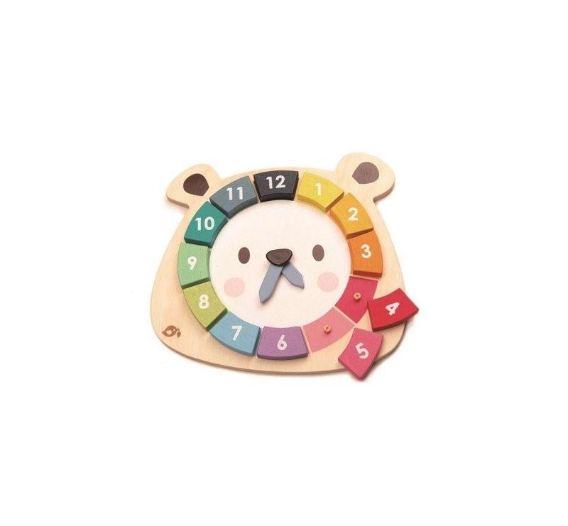 Kolorowy Zegar Miśi - Drewniana Zabawka Edukacyjna - Tender Leaf Toys