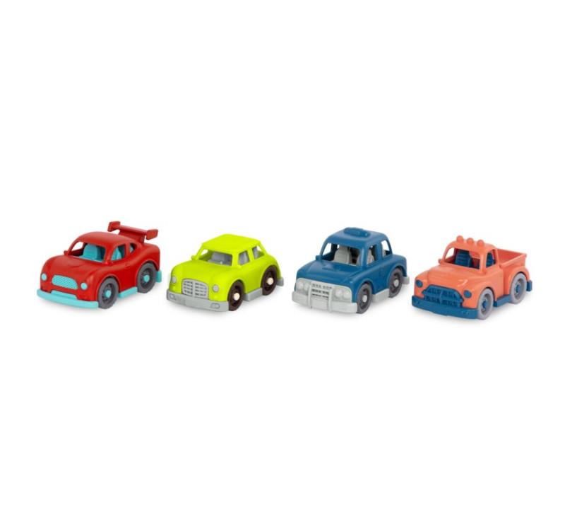 Zestaw 4 Mini Autek z Czerwoną Wyścigówką - 4 Mini Riders - Wonder Wheels