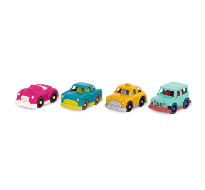 Zestaw 4 Mini Autek z Żółtą Taxi - 4 Mini Riders - Wonder Wheels