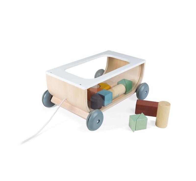 Wózek Do Ciągnięcia Drewniany z 17 Kockami - Sweet Cocoon - Janod