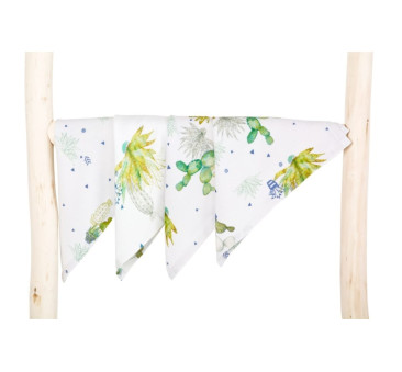 Chusteczki bambusowe - Tropical - kaktusy - 4 pack - Poofi