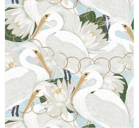 Poduszka - Bed Pillow - Heron In a Cream Lotus - 40x60 cm - La Millou