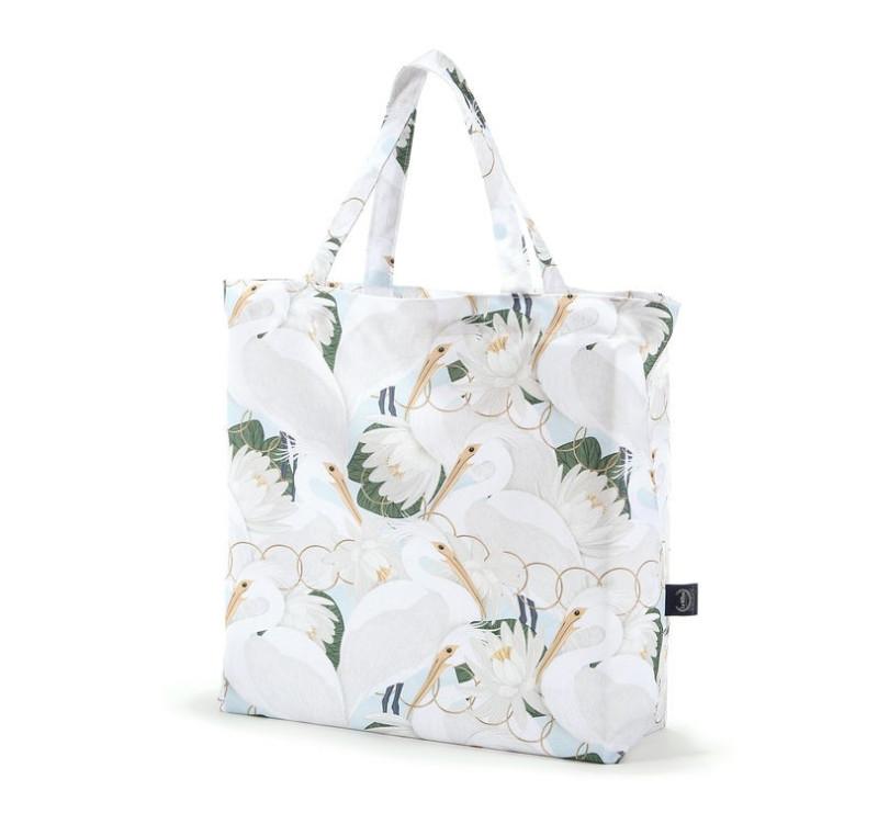 Shopper Bag - Heron In a Cream Lotus - Torba na zakupy - La Millou