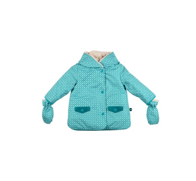 Baby Jacket + Mittens Karo 86 ( 18-24 msc) - Ducksday - Kurtka Dziecięca z Rękawiczkami