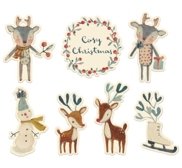 Ozdoby Na Prezenty - Dekoracja Bożonarodzeniowa - Gift Tags Cosy Christmas - 14 elementów - Maileg