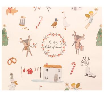 Cosy Christmas Off White - Papier Do Pakowania Prezentów - 10 metrów - Maileg