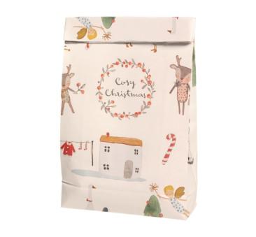 Torebka Papierowa - Gift Bag Cosy Christmas Off White - Maileg