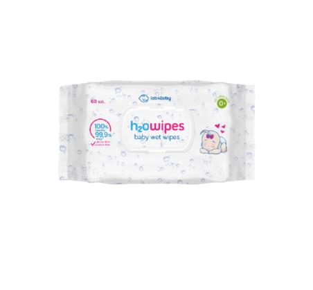 H2O Wipes - Chusteczki - 60 szt. Lab4Baby 100% naturalnych składników 0+