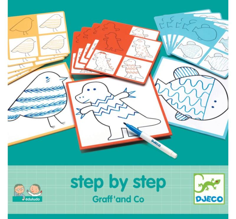 Eduludo - GRAFF & CO - Karty Do Nauki Rysowania - Krok Po Kroku - Djeco