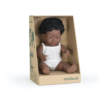 Afrykańczyk Down Syndrom 38 cm - Lalka Chłopiec Afrykańczyk - Miniland Doll - Miniland