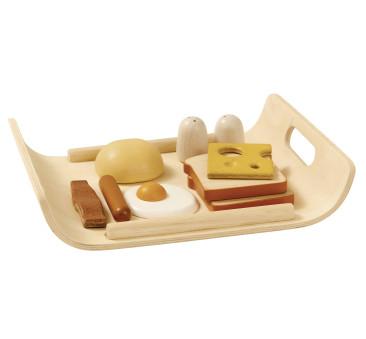 Śniadanie na tacy - drewniany zestaw do zabawy - Plan Toys - Montessori
