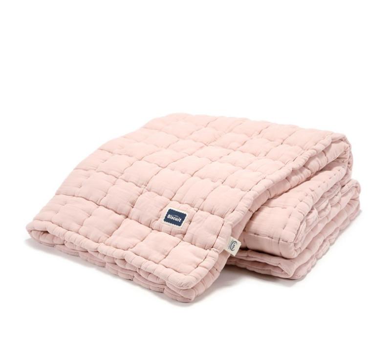 Kołdra/Narzuta Pikowana 100% Cotton - Powder Pink - 140x200 cm - Muślin - Biscuit Collection - La Millou