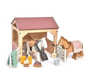 Stajnia z Końmi - Drewniane Figurki Do Zabawy - Tender Leaf Toys