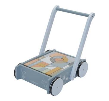 Błękit Ocean Wózek z klockami - Drewniany Pchacz - Montessori - Little Dutch