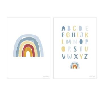 Błękit Tęcza Alfabet - Plakat A3 - Little Dutch