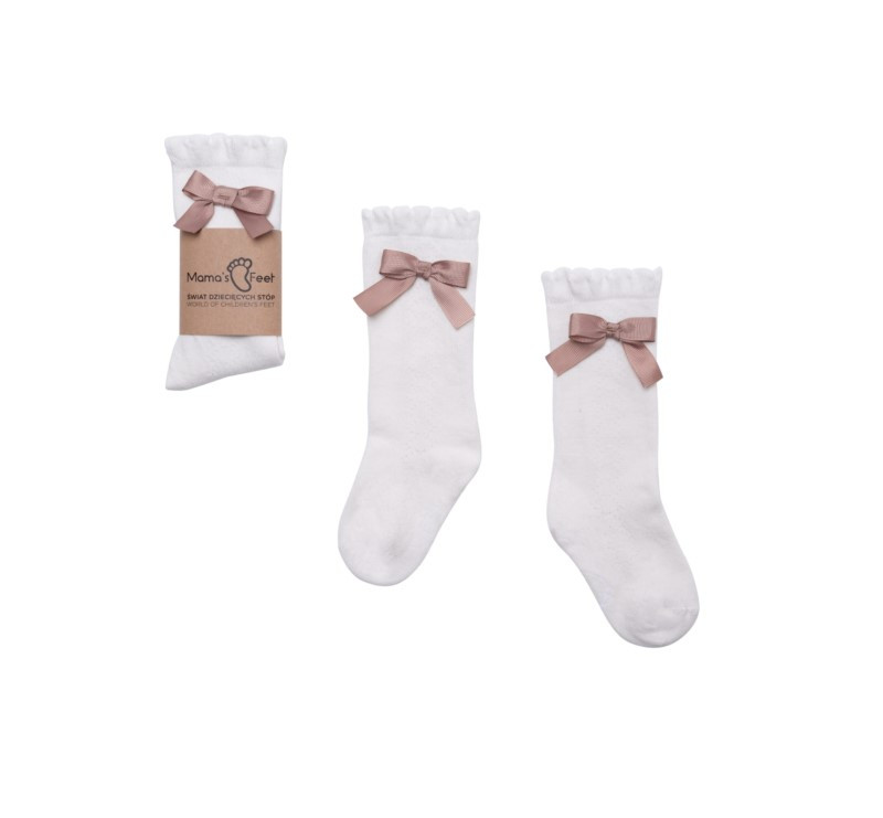 Podkolanówki 4-6 lat - Stefania - Białe - Kolekcja Ladies - Mama's Feet