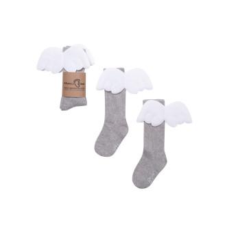 Podkolanówki 0-1 lat - Szary Aniołek - Mamas Feet - Mama's Feet