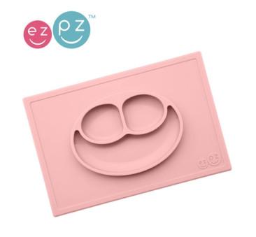 Silikonowy talerzyk z podkładką 2w1 Happy Mat pastelowy róż - EZPZ