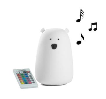 Biały Miś Głośnik - Duża Lampka Silikonowa - Z Głośnikiem - Rabbit & Friends