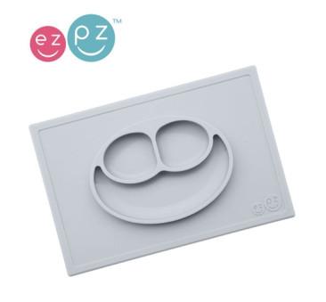 Silikonowy talerzyk z podkładką 2w1 Happy Mat pastelowa szarość - EZPZ
