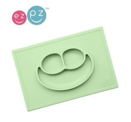 Happy Mat - Pastel Zielony - Silikonowy Talerzyk z podkładką 2w1 - EZPZ