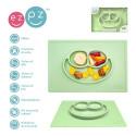 Silikonowy talerzyk z podkładką 2w1 Happy Mat pastelowa zieleń - EZPZ