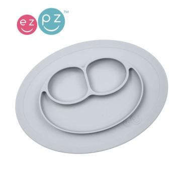 Silikonowy talerzyk z podkładką mały 2w1 Mini Mat pastelowa szarość - EZPZ