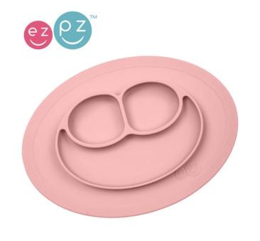 Silikonowy talerzyk z podkładką mały 2w1 Mini Mat pastelowy róż - EZPZ