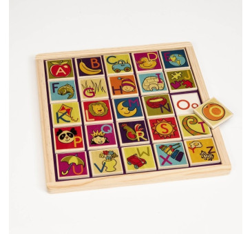 Magnetyczne drewniane puzzle/płytki z literami + tablica - BTOYS