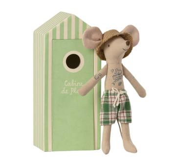 Myszka Tata Plażowicz w Przebieralni - Dad Mouse In Cabin De Plage - Beach Mice - Maileg