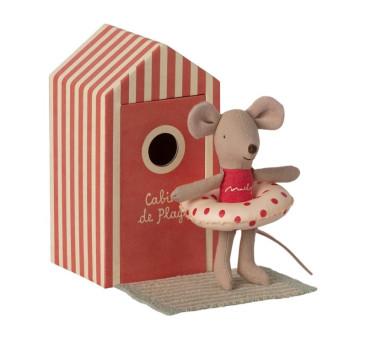 Myszka Plażowiczka w Przebieralni z Akcesoriami - Little Sister In Cabin De Plage - Beach Mice - Maileg