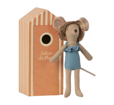 Myszka Mama Plażowiczka w Przebieralni - Mum In Cabin De Plage - Beach Mice - Maileg