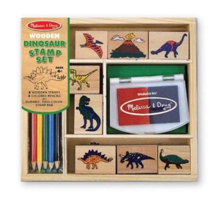 Drewniane pieczątki / stempelki Dinozaury - Melissa & Doug - Montessori