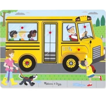 Puzzle Układanka z Dźwiękiem - Autobus Szkolny - Melissa & Doug - Montessori
