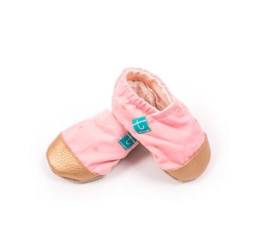 Papcie dziecięce - Titot - Pink Tic Tac Toe ze skórką - rozmiar 9-12 miesięcy