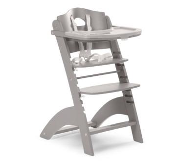 Krzesełko drewniane do karmienia dla niemowląt Lambda 2 - jasny szary - Childhome