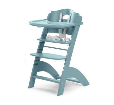 Krzesełko drewniane do karmienia dla niemowląt Lambda 2 - turkusowy - Childhome
