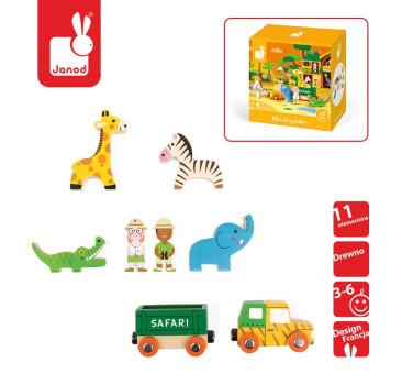 Zestaw drewniany 8 elementów - Dzikie zwierzęta - Kolekcja Story - Janod