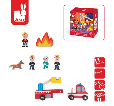 Zestaw drewniany 8 elementów - Strażacy - Kolekcja Story - Janod