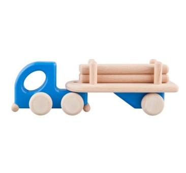 Mała drewniana ciężarówka z belkami - niebieska