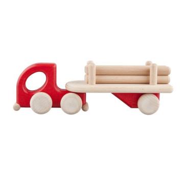 Mała drewniana ciężarówka z belkami - czerwona