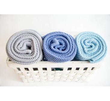 Tkany kocyk z bawełny organicznej (kolor: jasny - szary) - 75x90cm