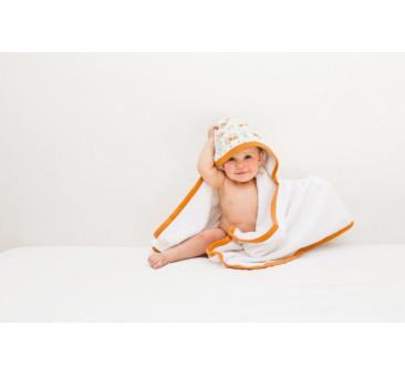 Duży ręcznik z kapturkiem (wzór: liski) - 130×75 cm