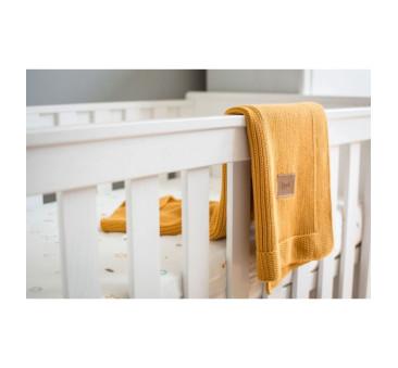 Tkany kocyk z bawełny organicznej (kolor: miodowy) - 75x90cm
