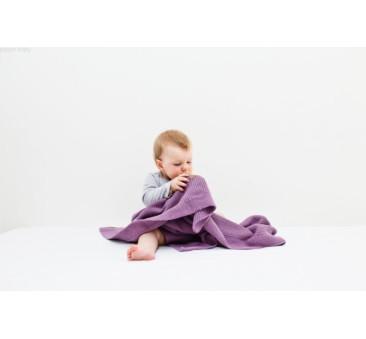 Tkany kocyk z bawełny organicznej (kolor: fiołkowy) - 75x90cm