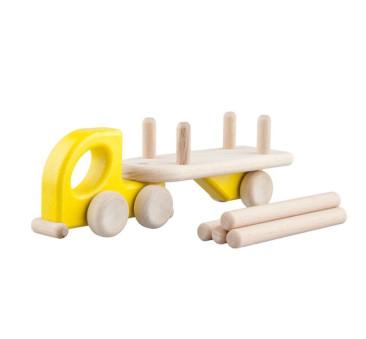 Mała drewniana ciężarówka z naczepą - Lorry Logs - żółta - Lupo Toys