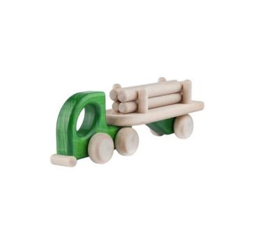 Mała drewniana ciężarówka z belkami - zielona
