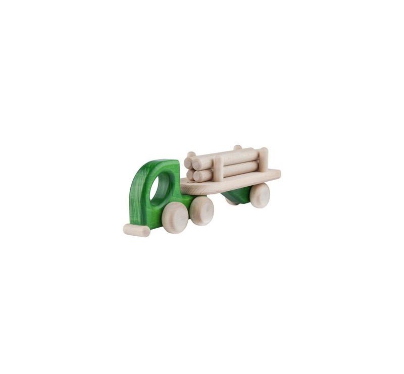 Mała drewniana ciężarówka z naczepą - Lorry Logs - zielona - Lupo Toys