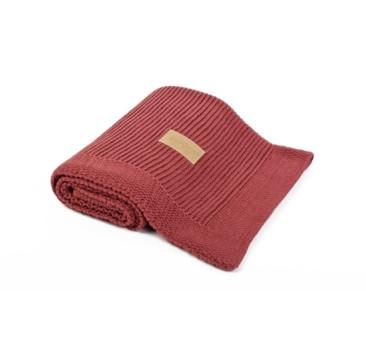 Kocyk tkany z bawełny organicznej - kolor cegła ceglasty - 75x90cm - Poofi